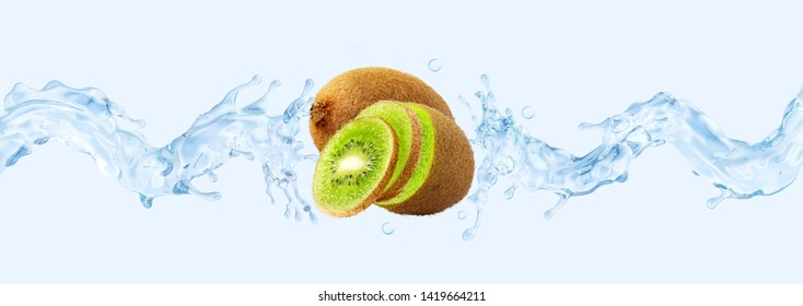 Fresh cold pure kiwi flavored water wave splash. Clean infused water, liquid fluid 3D wave splash with kiwi, kiwi slices design elements. Healthy flavored detox syrup soft drink splash. Clipping path