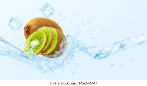 Fresh cold pure kiwi flavored water wave splash. Clean infused water, lemonade, smoothie, cocktail 3D wave splash with kiwi, kiwi slices design elements. Healthy flavored detox drink splash concept