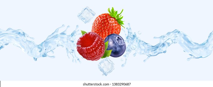 Fresh cold pure strawberry, blueberry, raspberry flavored water wave splash. Clean infused water wave splash with berries. Healthy flavored drink splash ad concept with ice cubes. Clipping path. 3D