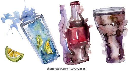 Fresh and cold soft drinks. Watercolor background illustration set. Watercolour drawing fashion aquarelle isolated. Isolated beverage illustration element.