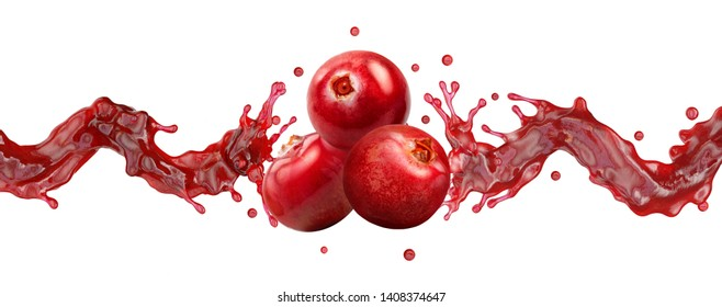 Fresh cranberry juice, smoothie or jam splash wave with cranberries. Tasty berry juice splashing, cranberry juice isolated. Liquid healthy food or drink fruit banner design element. Clipping path. 3D