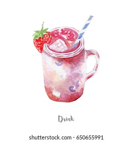 fresh drink illustration. Hand drawn watercolor on white background