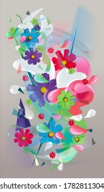 Fresh floral splash illustration with lots of colors