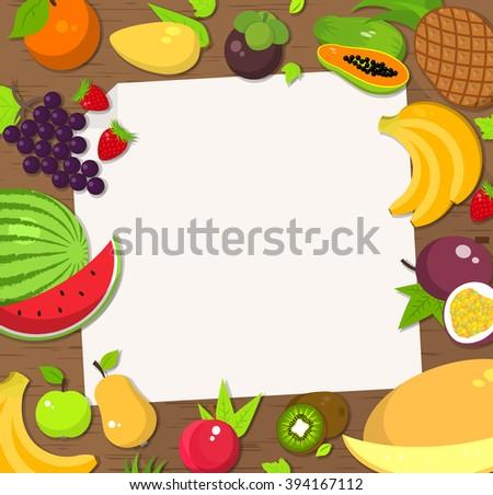 Fresh Fruit Frame Background Bright Colored Stockillustration