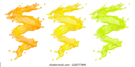 Fresh fruit juice splashes swirl set. Fruits juice splashing orange, lemon, tangerine, pineapple, peach, mango, papaya, lime juice spiral form isolated. Healthy drink concept. Clipping path. 3D render