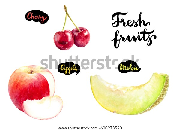 Fresh fruits watercolor illustration. Melon, apple, cherry hand draw isolated on white background.