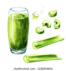 Fresh healthy green celery juice set. Watercolor hand drawn illustration  isolated on white background