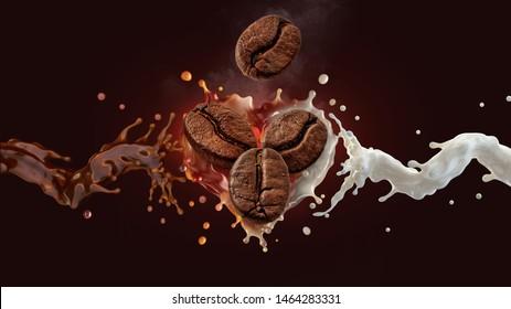 Fresh hot aroma black coffee, espresso, americano 3D splash with roasted  coffee beans, fresh milk or cream splash on dark background. Coffee with milk, latte, cappuccino, mocha label design element