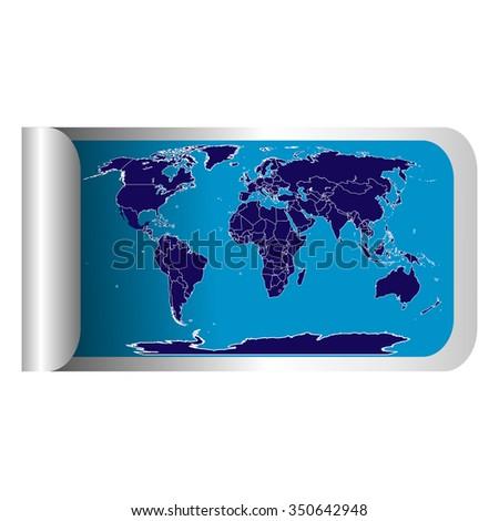 Fresh Label Stick Blue World Map Stock Illustration 350642948 ...