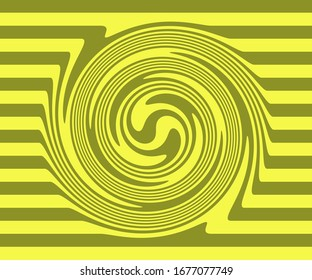 Fresh Lemon Yellow And Olive Shades are used to create a fun pop art based horizontal stripe and swirl art.