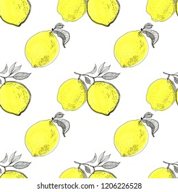 Fresh lemons background. Hand drawn overlapping backdrop. Colorful wallpaper vector. Seamless pattern with citrus fruits collection. Decorative illustration, good for printing