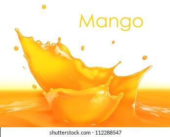 Fresh Mango juice splash making amazing waves and drops, Digital Painting