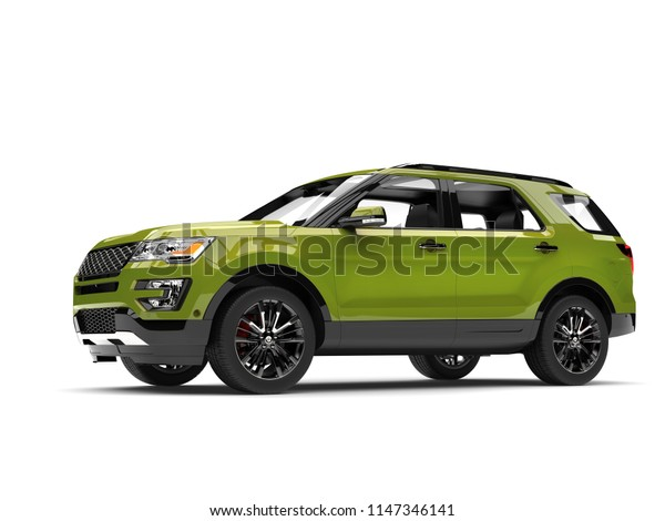 Fresh metallic green modern SUV car - low angle side view - 3D Illustration