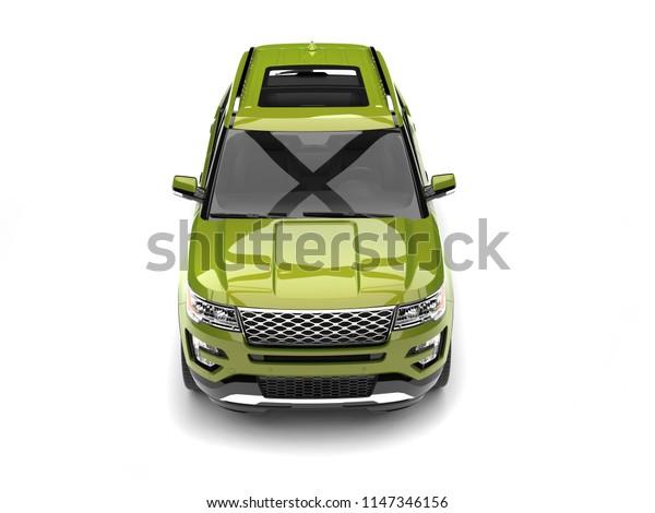 Fresh metallic green modern SUV car - top down front view - 3D Illustration