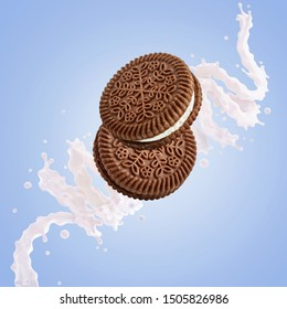 Fresh milk, yogurt, cream 3D splash with chocolate and sweet cream cookies. Traditional chocolate cookies with cream filling, milk, yogurt nutrition composition ad design isolated on blue background