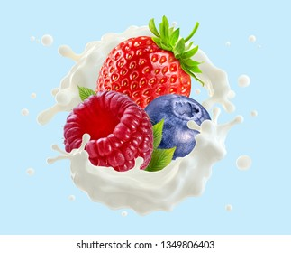 Fresh milk or yogurt splash with ripe strawberry, blueberry and raspberry. Healthy breakfast meal design or advertising element with milk, yogurt, cream and berries. Label design. Clipping path. 3D