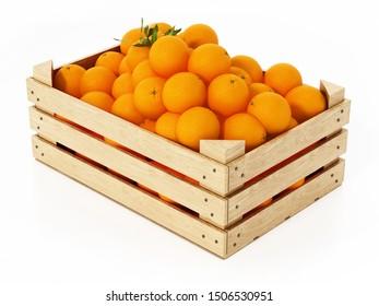 Fresh, newly harvested oranges inside wooden crate. 3D illustration.