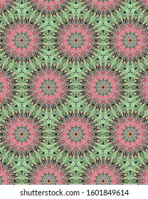 Fresh, organic geometric designs from nature in greens and pinks.