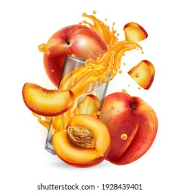 Fresh peaches and splashing juice in a glass.