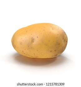 Fresh Potato Isolated On White Background. 3D Illustration