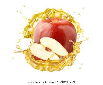 Fresh ripe apple, apple slice and juice or cider vinegar splash swirl. Fruit drink liquid design element. Tasty red apple fruit juice splashing isolated, healthy diet concept. Clipping path. 3D render