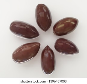 Fresh ripe brown glossy kalamata olives on white background. 3d render side view Big size high resolution macro