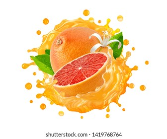 Fresh ripe grapefruit, grapefruit cut, juice, smoothie splash wave. Tasty detox diet juice splashing, grapefruit juice isolated.  Healthy citrus drink tropical fruit design element. Clipping path. 3D