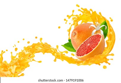 Fresh ripe grapefruit, grapefruit cut, juice, smoothie 3D splash wave isolated on white. Tasty detox diet juice splashing, grapefruit juice isolated. Healthy citrus drink tropical fruit design element