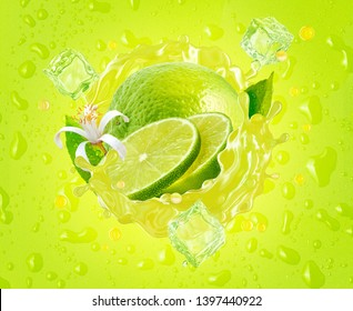 Fresh ripe lime, lime slice, ice and juice splash wave on drops background. Tropical juicy lime fruit juice ice drink splashing label design for juice, mojito cocktail, smoothie ad. Clipping path. 3D