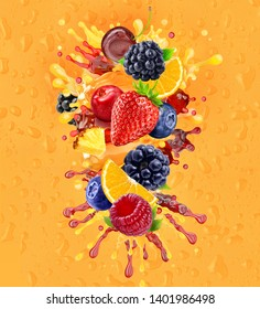 Fresh ripe orange, blackberry, strawberry, raspberry, blueberry, cranberry juice mix splash swirl with strawberry, blueberry, blackberry, raspberry. Orange berry juice splash with forest fruits. 3D