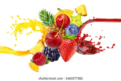 Fresh ripe orange, blackberry, strawberry, raspberry, blueberry, cranberry juice mix splash swirl with strawberry, blueberry, blackberry, raspberry. Pineapple berry juice 3D splash with forest fruits