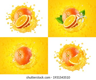 Fresh ripe orange label set: whole fruits, slices cut, orange juice splash wave. Healthy food, tropical fruit drink liquid ad label design. Tasty orange smoothie splash isolated, healthy diet concept