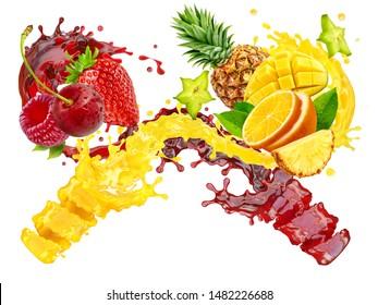 Fresh ripe orange, pineapple, mango, strawberry, raspberry, cherry juice mix splash swirls with cherry, strawberry, raspberry, orange, pineapple. Healthy diet juice 3D splashes with fruits and berries