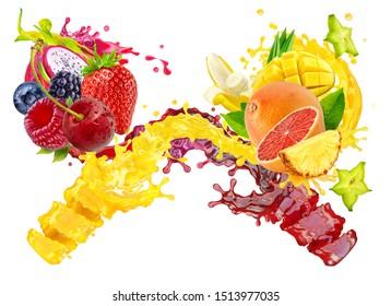 Fresh ripe orange, pineapple, mango, blueberry, blackberry, dragon fruit, grapefruit, strawberry, raspberry, cherry juice mix splash swirls. Healthy diet juice 3D splashes with fruits and berries