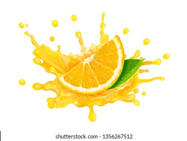 Fresh ripe orange slice and orange juice or smoothie splash. Tasty juice splashing for orange juice ad label or sticker. Liquid healthy food or drink tropical fruit design element. Clipping path. 3D