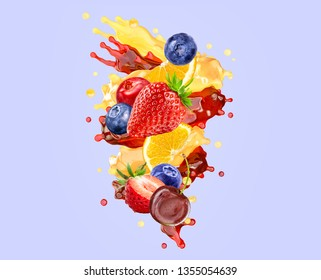 Fresh ripe orange, strawberry, cherry, raspberry, blueberry, cranberry juice mix splash swirl with strawberry, blueberry, cherry, cranberry, raspberry. Citrus berry juice splash with forest fruits. 3D