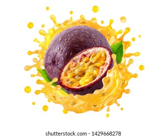 Fresh ripe passion fruit and passion fruit juice 3D splash wave. Healthy food or tropical fruit drink liquid ad label design elements. Tasty maracuja smoothie splash isolated, healthy diet concept