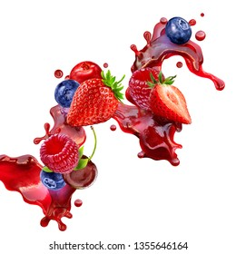 Fresh ripe strawberry, raspberry, blueberry, cranberry, cherry juice mix splash swirl with strawberry, blueberry, cranberry, raspberry, cherry. Red berry juice splash wave with forest fruits. 3D