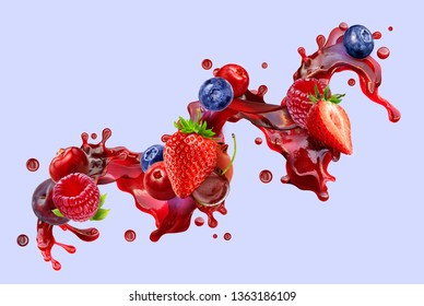 Fresh ripe strawberry, raspberry, blueberry, cranberry, cherry, juice mix splash swirl with strawberry, blueberry, cranberry, raspberry, cherry, plum. Red berry juice splash wave and forest fruits. 3D