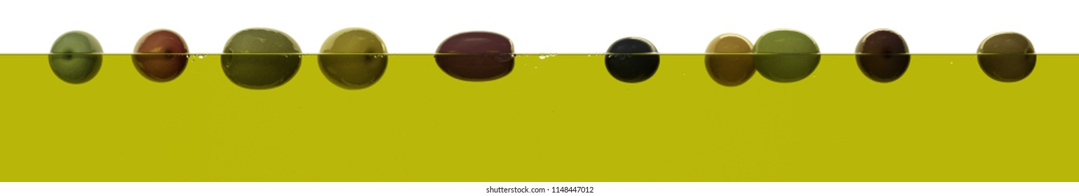 Fresh ripe various olives floating on olive oil surface semi-submerged on white background. Transparent liquid extra virgin olive oil 3d render side view Big size high resolution macro closeup