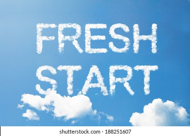 """Fresh Start"" cloud word on sky"
