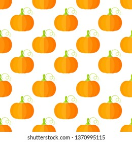 Fresh summer vegetable seamless pleattern. Decoration food design background in modern orange and yellow colors with pumpkin or squash vegetables. Creative illustration for healthy diet decor