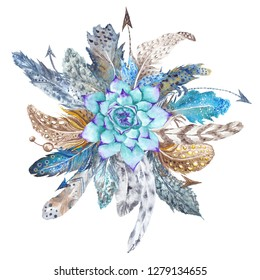 Fresh Tribal Vignette Wild Forest Wreath Design Element Stylish watercolor hand-painted vignette with feathers, florals, arrows and crystals in boho style
