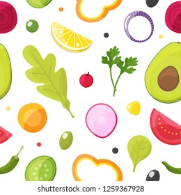 Fresh vegetables seamless pattern, healthy eating, vegetarian salad and agriculture concept.