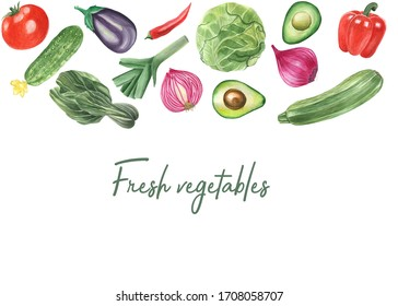 Fresh vegetables. Watercolor set. Healthy food. Summer. Cucumber. Tomato. Cabbage. Pepper. Onion.