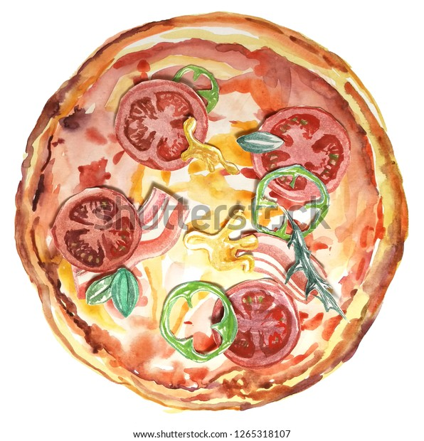 fresh watercolor pizza. Italian food, drawing meal