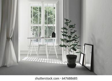 Fresh white home office interior with a simple writing table in front of windows with Venetian blinds with a potted plant and picture frames leaning on a wall in the foreground in a 3d rendering