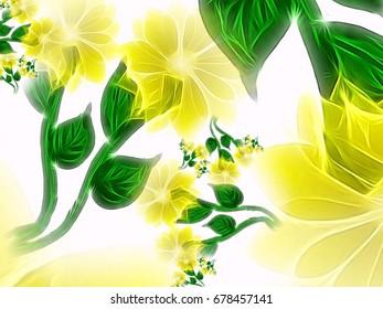 Fresh yellow flower drawing