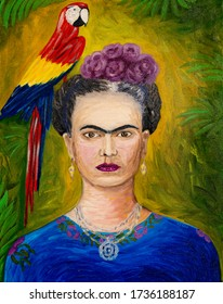 Frida Kahlo and ara parrot, oil painting on canvas.