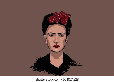 Frida Kahlo. Portrait of Frida.Famous mexican artist. Raster illustration.